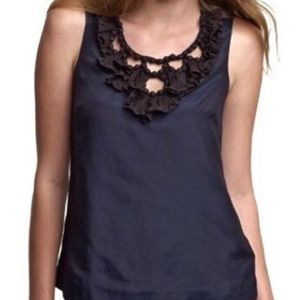 J.Crew Tank Navy with Black detail on top